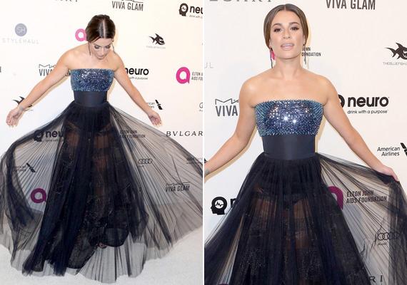 Minden fotós Lea Michele-t fényképezte az Oscar-néző partin, a színésznő ugyanis egy egyébként is áttetsző, alul tüll ruhában érkezett, és az anyagot még emelgette is. Ennek és a vakunak köszönhetően még a bugyija is kivillant.