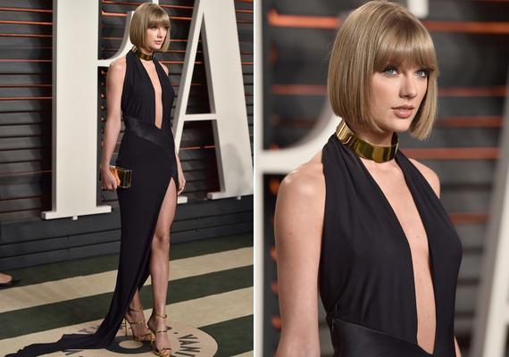 Taylor Swift szokásához híven egyszerű, de merész ruhát választott a Vanity Fair afterpartijára. A 26 éves énekesnő egy fekete, mélyen dekoltált és magasan sliccelt Alexandre Vauthier ruhában érkezett.