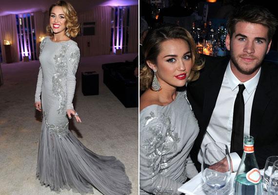 Miley Cyrus kék körmökkel és Liam Hemsworth-szel villogott Elton John Oscar-gála utáni partiján.