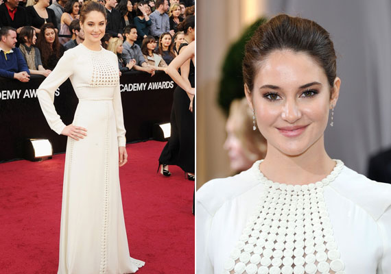 Shailene Woodley hófehér Valentino ruhában érkezett meg az Oscar-átadásra.