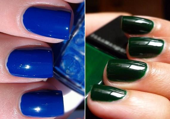 Ha kékre vagy zöldre lakkozod a körmeidet, idén ősszel mindkettőből valamilyen sötét tónust válassz.
