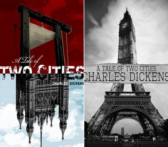 Charles Dickens Két város regénye című könyvében a történet London és Párizs között ugrál, ezt jelenítették meg az újratervezett borítókon is.
