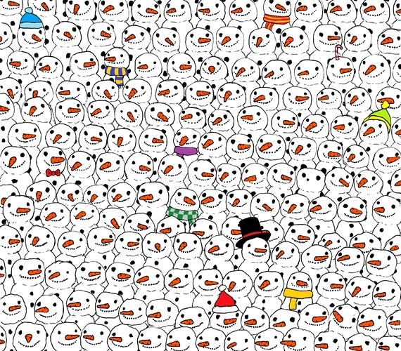 1. Megtalálod a pandát a hóemberek között?