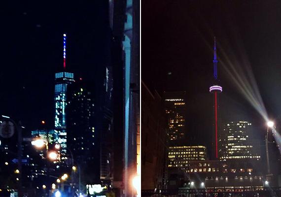 A világ más pontjai trikolór színekbe borultak, így fejezve ki az egyes országok szolidaritását és együttérzését a Párizsban történtekkel kapcsolatban. A képeken a New York-i One World Trade Center torony, illetve a kanadai, torontói CN Tower látható, de mellettük is számos szimbolikus épület öltött kék-fehér-piros színeket.