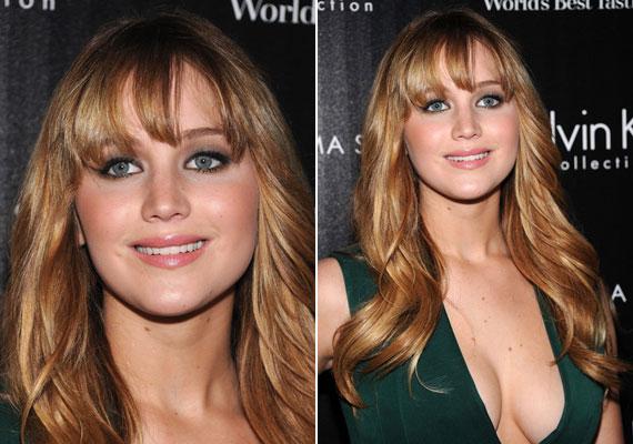 Jennifer Lawrence klasszikus, füstös szemfestést választott, amit barackszínű arcpírral tett fiatalosabbá.