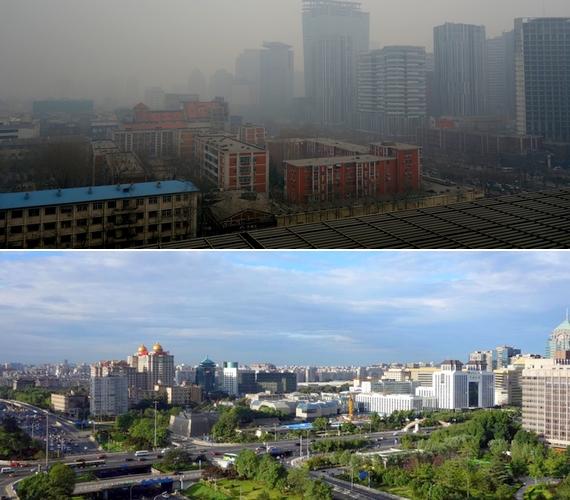Peking belvárosában olyan mértékű a légszennyezés, hogy mindent beterít a szmog, és a járókelők is csak arcmaszkban lépnek utcára. Augusztus végén azonban néhány nap alatt 73,2%-kal tisztább lett a levegő, mint az előző év ugyanezen szakában.