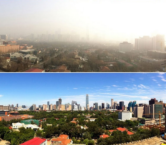 Évek óta nem lehetett látni a napot és az eget a fővárosban, most azonban a pár napos korlátozásnak köszönhetően egy időre fény költözött Pekingbe.