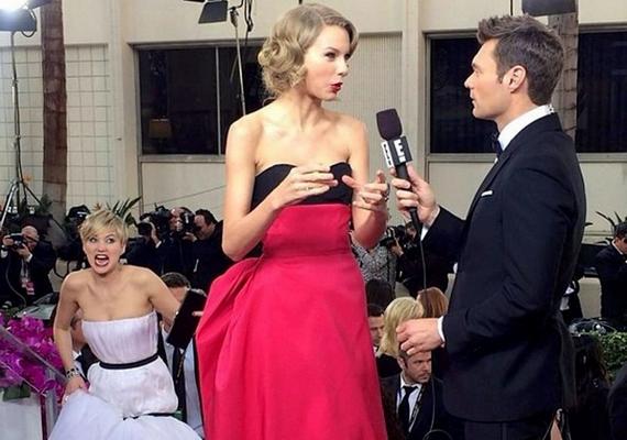 A mindig mókás kedvű Jennifer Lawrence hozta a formáját Taylor Swift interjúja alatt is.