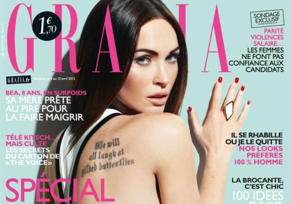 Megan Fox testén nem csupán az ezen a Grazia-címlapon is látható tetoválásnak, hanem egy másik feliratnak is kellene látszódnia - feltételes módban.