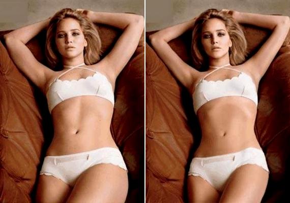 A 23 éves Jennifer Lawrence-nek nemcsak az arcát, de a testét sem kímélték: az átlagos testalkatú színésznőt egyáltalán nem kellett volna retusálni.