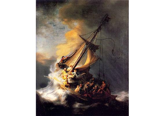 Rembrandt Krisztus a viharos Genezáreti-tavon című képe is áldozatául esett a történelem legnagyobb képrablásának. 1990-ben 13 festményt vittek el az Isabella Stewart Gardner Múzeumból, Bostonból, köztük egy Manet- és öt Degas-képet. Az esetet máig nem oldották meg.