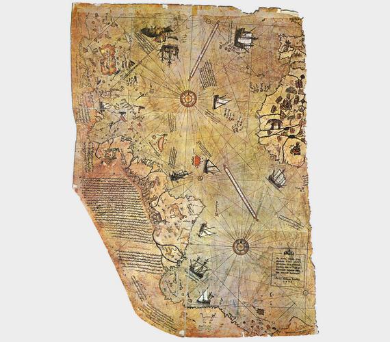 Ennyi maradt Piri reisz 1513-as, feltehetően őz- vagy gazellabőrre festett világtérképéből: egy 65×90 centiméteres darab, melynek jobb felső részén Afrika, bal oldalon pedig Dél-Amerika partvonala látható. Ezeken kívül rejtélyes módon megjelenik rajta az Antarktisz partvonala is, annak ellenére, hogy azt csak az 1800-as években fedezték fel.
