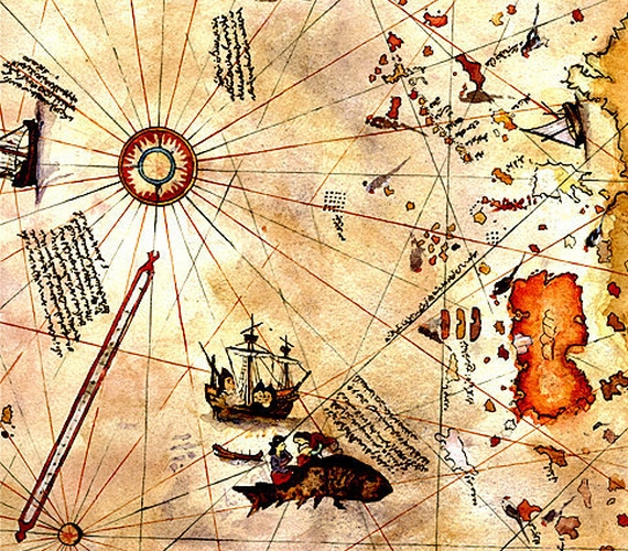 A térkép részletei egyébként rendkívül szórakoztatóak, Piri reisz mókás ábrával emlékezett meg például arról az esetről, amikor a 6. században élt Szent Brendan szigetnek nézett egy alvó bálnát.