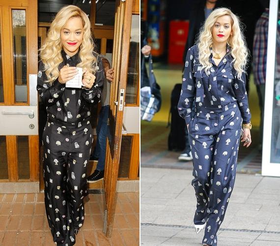 Rita Orán nehéz kiigazodni: a 23 éves énekesnő olykor nagyon stílusos, máskor pedig olyan, mintha a rongyoszsákból öltözött volna fel. A pizsamás trendet természetesen ő is követi.