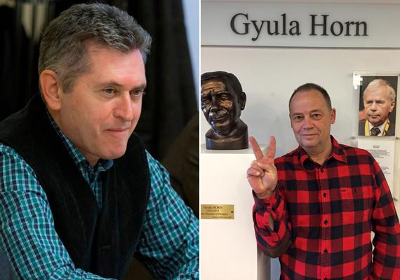 """Balra a fideszes Bencsik János, jobbra az MSZP-s Szanyi Tibor kockás ingben. Bencsik úgy fogalmazott a képe mellett, hogy """"nem a ruha teszi az embert"""", a politikusok most mintha mégsem eszerint cselekednének."""