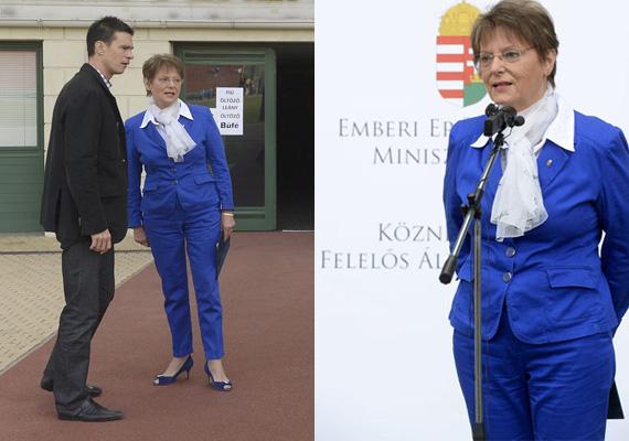 A közoktatásért felelős államtitkár, Hoffmann Rózsa is egy életre beírta magát a magyar politika divatkódexébe ezzel az Austin Powers-viselettel. Kérdés, hogy vajon mit érzett reggel, amikor belenézett a tükörbe. A ruha borzasztóan gyűrött, nyitott orrú cipőt pedig nem szabad harisnyával viselni. A sarokmagasság sem ideális.