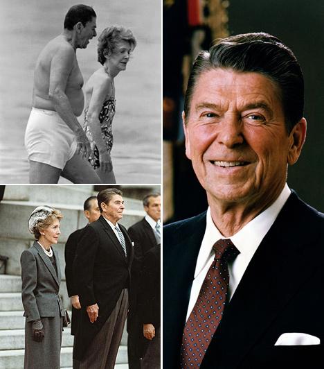 Ronald Reagan  Ronald Reagan az Amerikai Egyesült Államok 40. elnöke. A félmeztelen kép a nyolcvanas években készült, amikor Reagan a hetvenes éveiben járt.A képen látható a hölgy felesége, Nancy Reagan.  Reagan 2004-ben halt meg, 69 évesen választották először elnöknek.