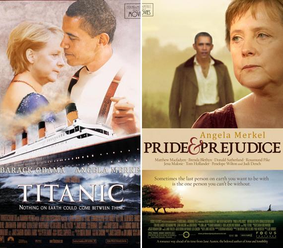 Obama és Merkel romantikus kapcsolata elevenedik meg a Titanic, valamint a Büszkeség és balítélet plakátján.