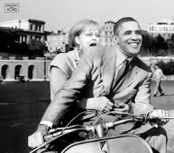 Ez már a Római vakáció című film, ugyanazon politikusokkal a főszerepben: Merkel szemmel láthatóan nem bízik meg a partnerében.