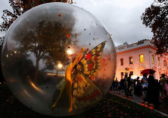 A Fehér Házban tradicionálisan megrendezett Halloween-buli igen látványosra sikerült, az elnöki rezidencia kertjében átlátszó gömbbe bújt pillangók tették emlékezetessé az estét.