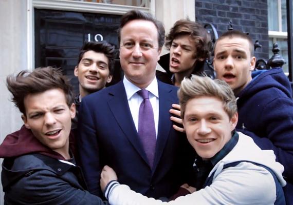 David Cameron azt gondolta, a One Direction zenekar lehet a további sikerek kulcsa, hiszen a fiúbanda a feltörekvő nemzedék kedvence, akikből a későbbi szavazók lesznek.