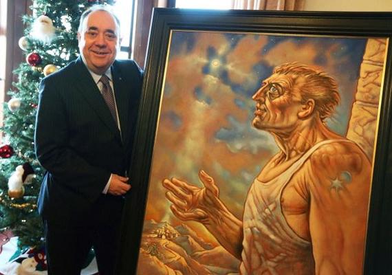 Alex Salmond skót miniszterelnök büszkén mutatta meg, hogy ennek a festménynek a kicsinyített képeslapmásával kívánt ismerőseinek boldog karácsonyt.
