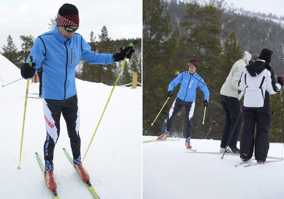 Finnország miniszterelnöke, Alexander Stubb is a sípályán lazít, bár a képek tanúsága szerint van még mit csiszolnia a tudásán.