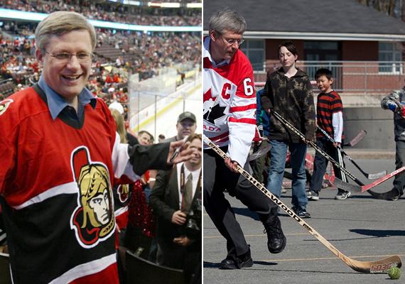 Stephen Harper kanadai miniszterelnök a jéghoki szerelmese, nagyon gyakran látni meccseken, de ha arról van szó, ő is szívesen beáll játszani. Természetesen korcsolya nélkül, nehogy lábát törje.