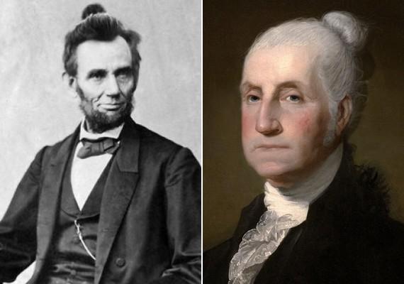 Az elhunytakat sem kímélték: Abraham Lincoln és George Washington is kapott egy-egy kontyot.