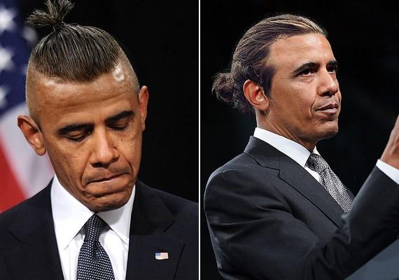 Barack Obama bal oldalon rapsztárra, jobb oldalon reggae-énekesre hasonlít.