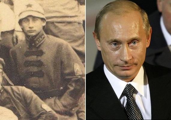 Ez a fotó 1920-ban készült katonák egy csoportjáról, és onnantól kezdve, hogy valaki kiszúrta, mennyire hasonlít ez a fiú Putyinra, a kép futótűzként terjedt az interneten.