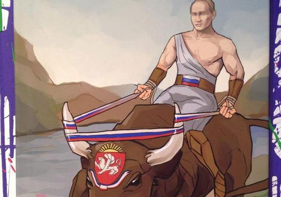 Putyin egy vad bika hátán hódítja meg a Krím-félszigetet Oroszország számára. Így értelmezte újra egy művész a tavaszi eseményeket.