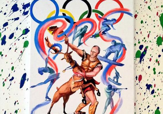 Putyin a téli olimpia keretében félmeztelenül birkózik meg egy szarvassal.