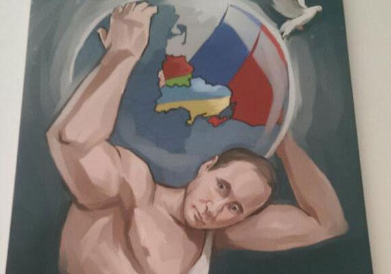 Mint ismert, az oroszbarát felkelők és az ukrán kormány Minszkben írt alá fegyverszüneti megállapodást. Putyin Atlaszként őrködik a megkötött béke felett a festmény tanúsági szerint.