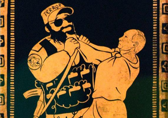 A tógába öltözött Putyin a terrorizmussal veszi fel a harcot ezen a képen, mely mű stílusában is az ókori görög kultúrához igazodik.