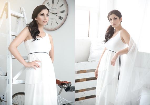 A csinos énekesnő hófehér ruhában pózol a képeken.