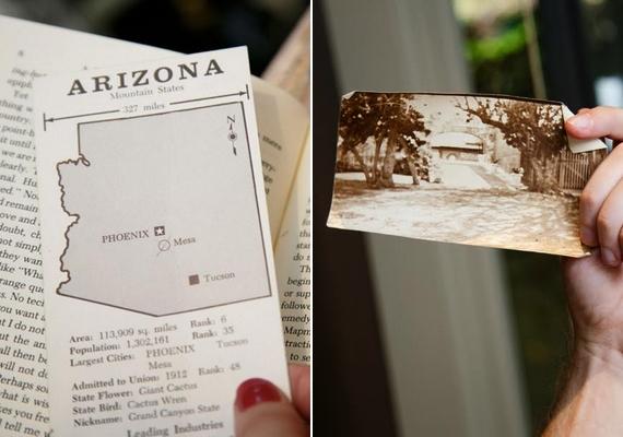 Az aláhúzott mondatokon és a képen kívül további érdekességek is voltak a könyvben: egy Arizona-térkép, rajta bejelölve Mesa, és egy régi fénykép, amin egy ház látható.
