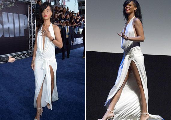 A gyönyörű fehér ruha megmutatta Rihanna hosszú lábait.