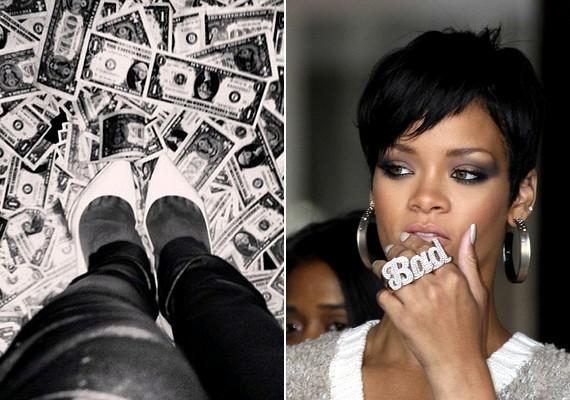 Liz Jones úgy gondolja, a Rihanna által megosztott, bal oldali fotó legalább őszinte, hiszen a híresség számára úgyis minden a pénzről szól. A bad - vagyis rossz - feliratú gyűrű is magáért beszél: az újságíró szerint nőietlen, kemény, drága és harcias.