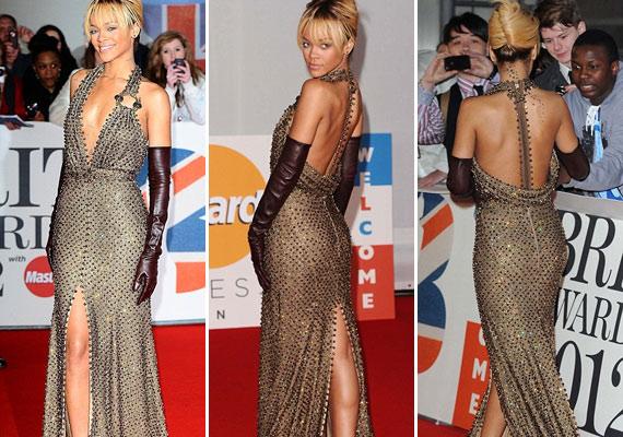 A ruha hátulja kicsit olyan hatást keltett, mintha Rihannát ki lehetne cipzárazni a gerince mentén.