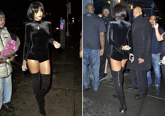Rihanna nem csak szombat este ünnepelt: másnap este visszafogott vacsorára ment a barátaival, cseppet sem visszafogott öltözékben.
