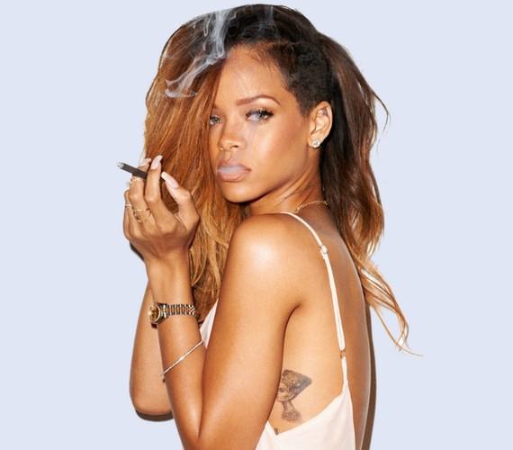Az énekesnő egy kézzel sodort cigaretta társaságában pózolt.