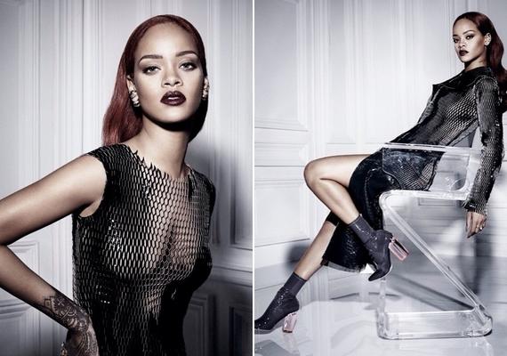 Ebben a hálószerű ruhában pózolt Rihanna, ami oldalról még nem is tűnik annyira merésznek, szemből viszont mindent megmutat.