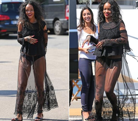 Ebben a merész ruhában sétálgatott a parton Rihanna: mintha semmit nem viselt volna.
