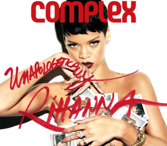 Rihanna ledobta a felsőjét, csak néhány fotóval takarta el magát a képen.