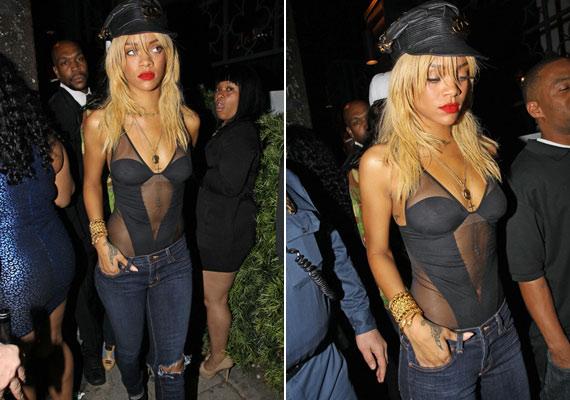 Nemrég egy nightclubból távozott ebben a szerelésben: szintén merész, de ez már egyáltalán nem nevezhető elegánsnak. Rihanna, nem néztél tükörbe?