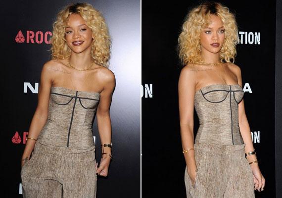 A Grammy előtti partiba, melyet a Sohóban rendeztek, Rihanna szintén egy mélyen dekoltált ruhában érkezett.
