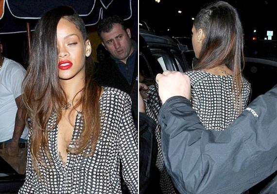 Rihanna oldalt felnyírt, hosszú barna hajjal jelent meg vasárnap este Hollywood utcáin.