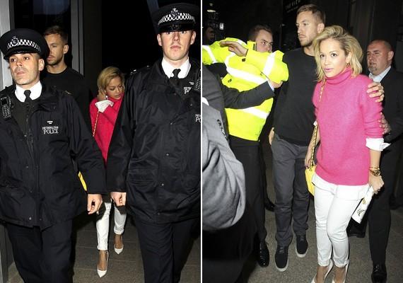 A buli helyszínén rendőrök, biztonsági őrök és testőrök hada kísérte őket.
