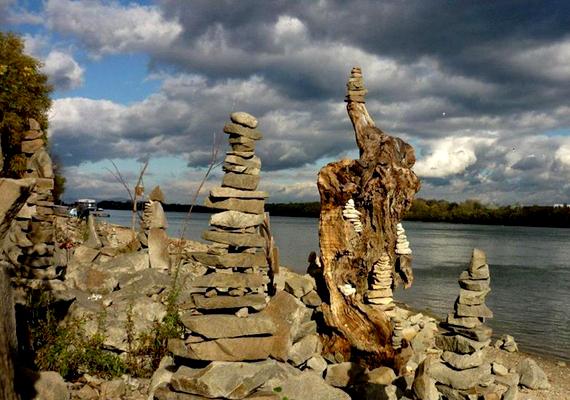 Az alkotó kövekből és uszadékfákból építette a kőkertet.